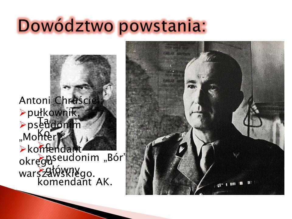 Dowództwo powstania: Tadeusz Pełczyński: generał, Antoni Chruściel: