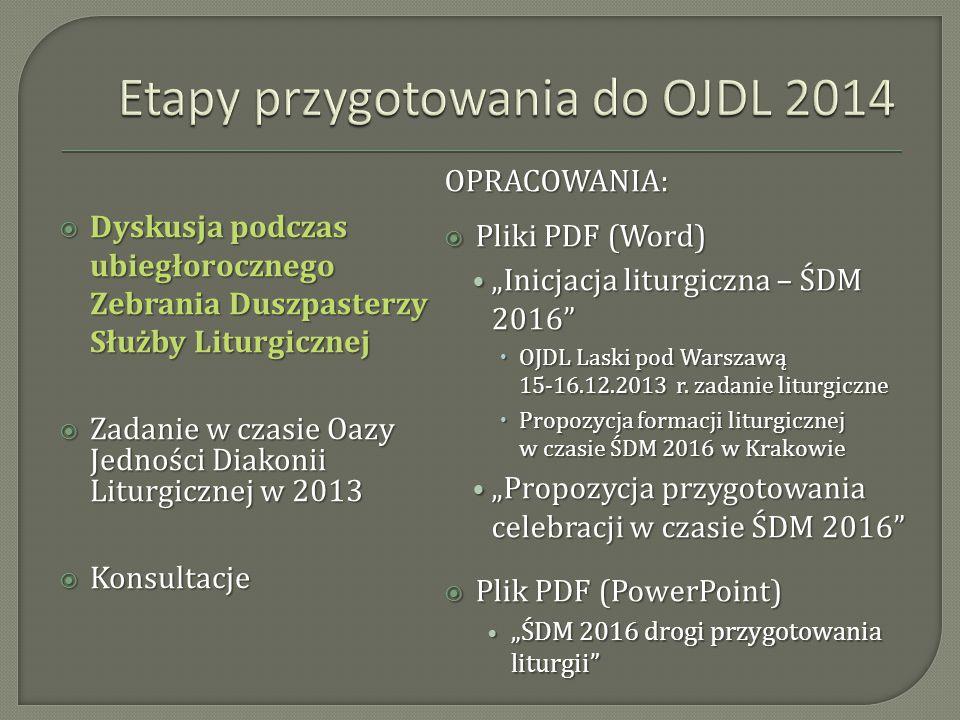 Etapy przygotowania do OJDL 2014