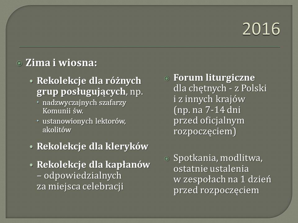 2016 Zima i wiosna: Rekolekcje dla różnych grup posługujących, np.