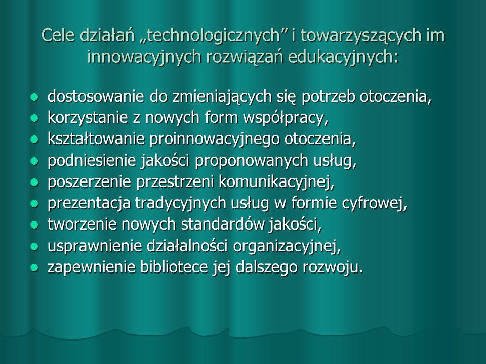 """Cele działań """"technologicznych i towarzyszących im innowacyjnych rozwiązań edukacyjnych:"""