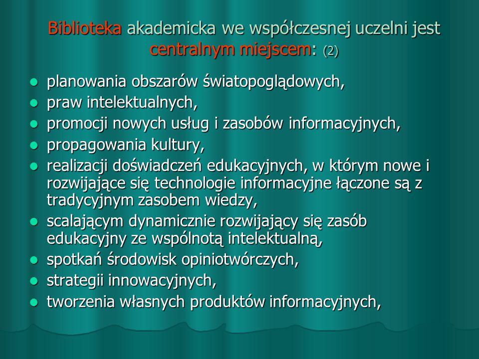 Biblioteka akademicka we współczesnej uczelni jest centralnym miejscem: (2)