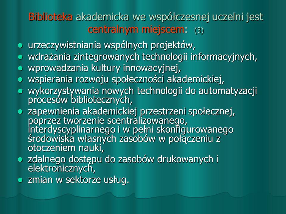 Biblioteka akademicka we współczesnej uczelni jest centralnym miejscem: (3)