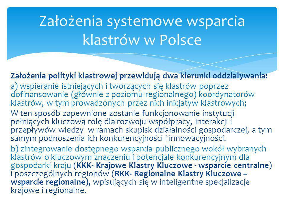 Założenia systemowe wsparcia klastrów w Polsce