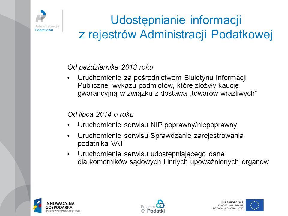 Udostępnianie informacji z rejestrów Administracji Podatkowej