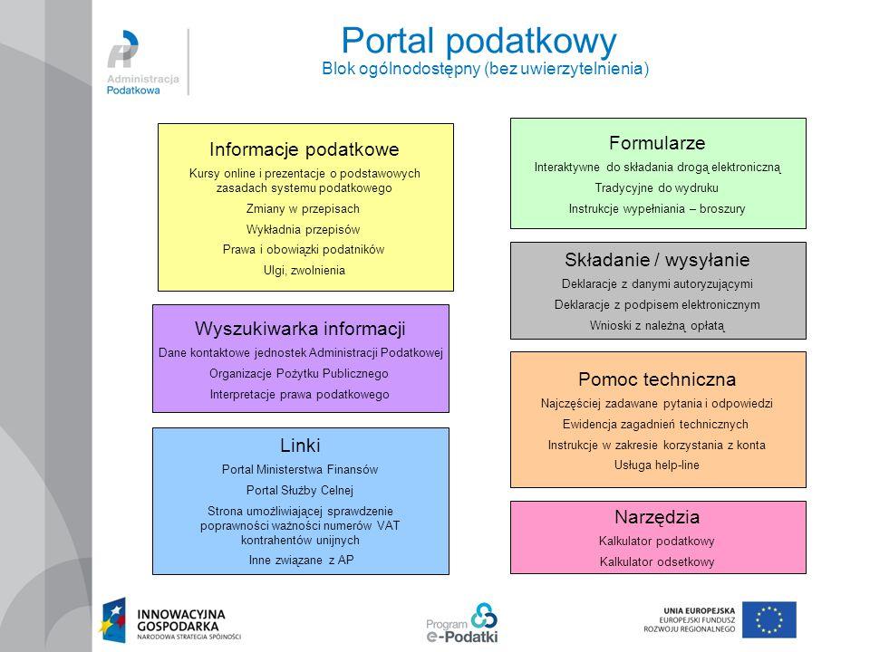 Portal podatkowy Blok ogólnodostępny (bez uwierzytelnienia)