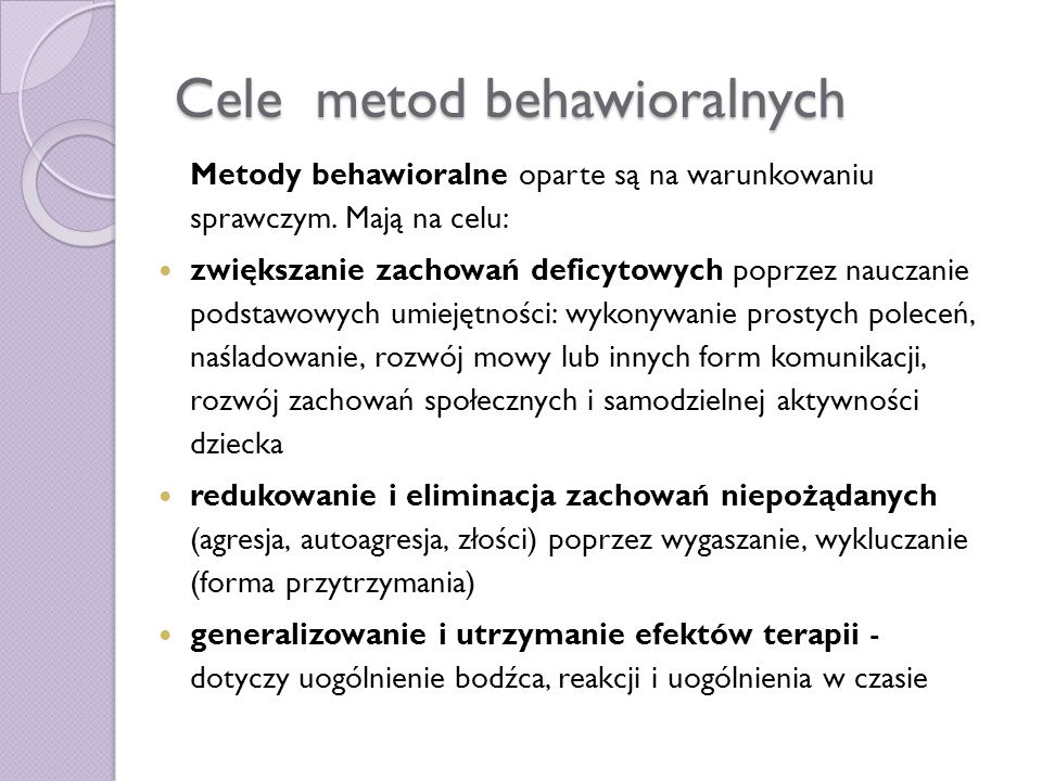 Cele metod behawioralnych
