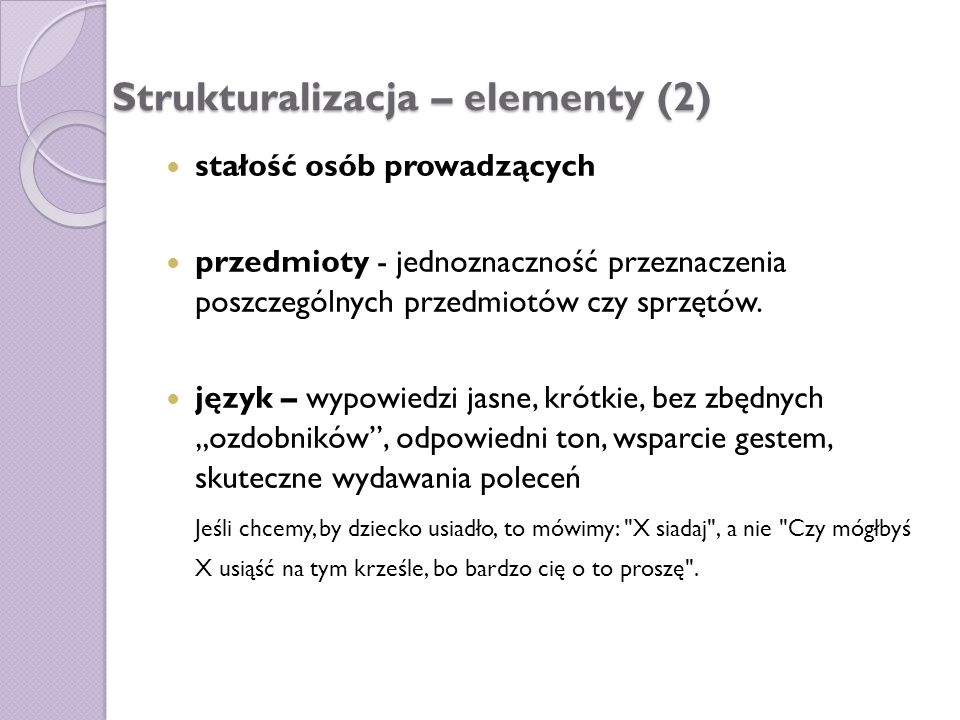 Strukturalizacja – elementy (2)