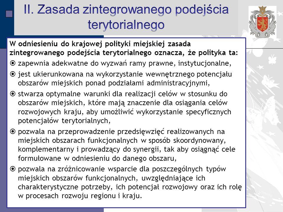 II. Zasada zintegrowanego podejścia terytorialnego