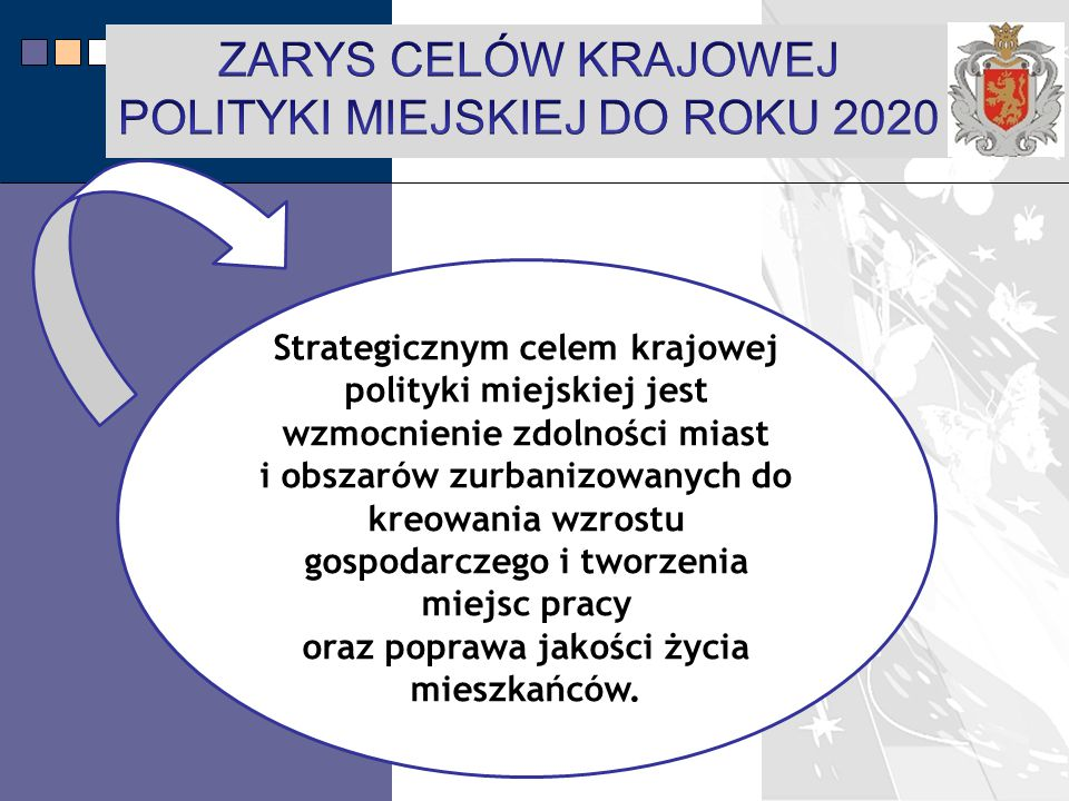 ZARYS CELÓW KRAJOWEJ POLITYKI MIEJSKIEJ DO ROKU 2020