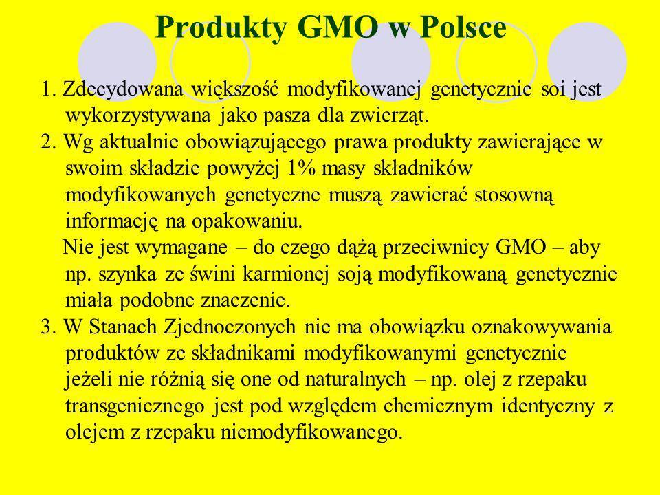 Produkty GMO w Polsce 1. Zdecydowana większość modyfikowanej genetycznie soi jest wykorzystywana jako pasza dla zwierząt.