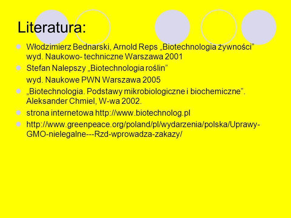 """Literatura: Włodzimierz Bednarski, Arnold Reps """"Biotechnologia żywności wyd. Naukowo- techniczne Warszawa 2001."""