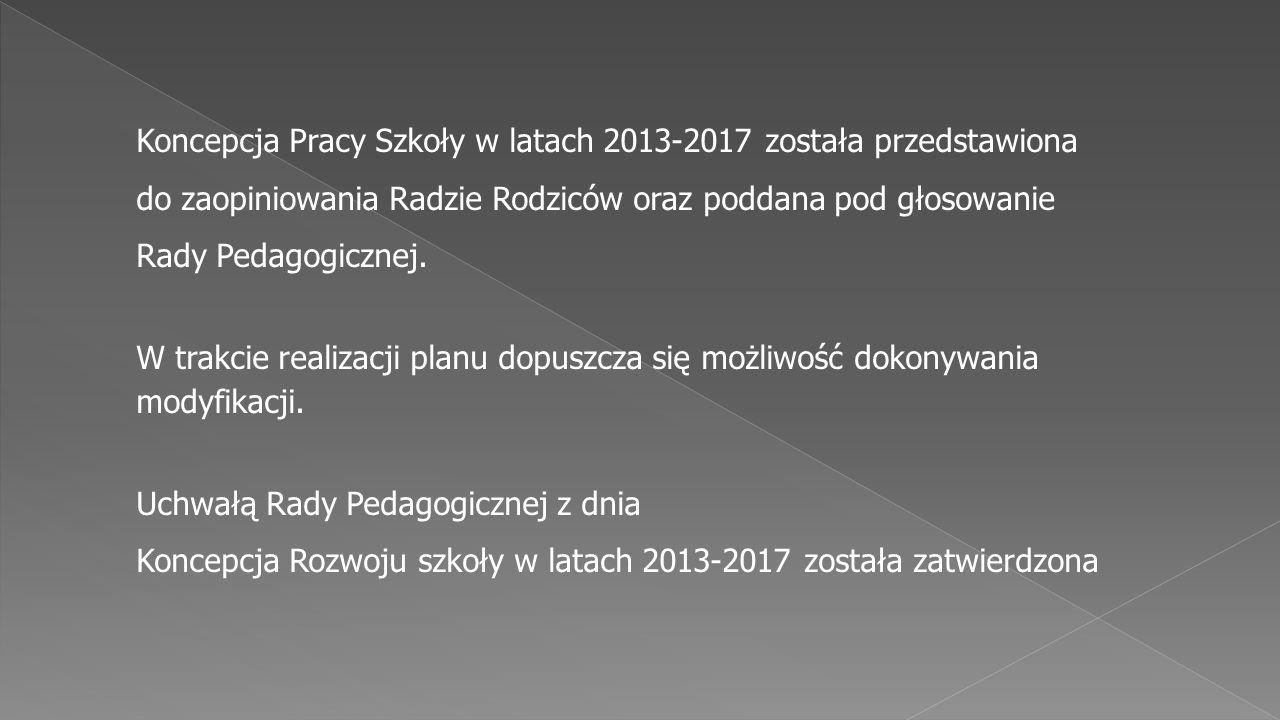 Koncepcja Pracy Szkoły w latach 2013-2017 została przedstawiona