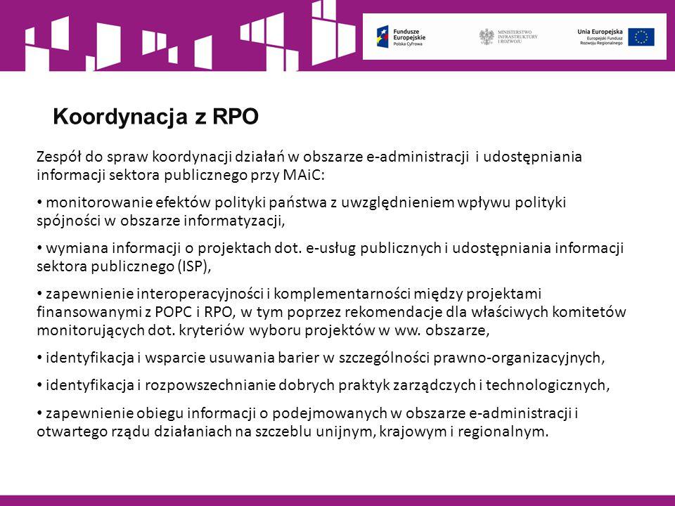 Koordynacja z RPO Zespół do spraw koordynacji działań w obszarze e-administracji i udostępniania informacji sektora publicznego przy MAiC: