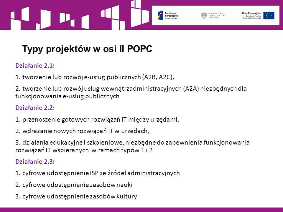 Typy projektów w osi II POPC