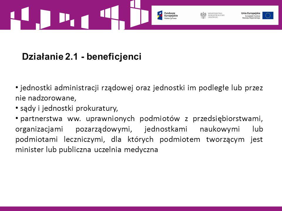 Działanie 2.1 - beneficjenci