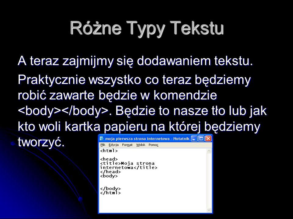 Różne Typy Tekstu A teraz zajmijmy się dodawaniem tekstu.