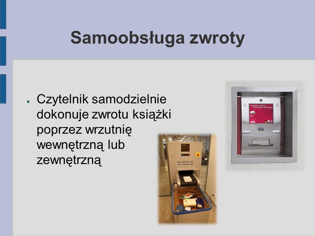 Samoobsługa zwroty Czytelnik samodzielnie dokonuje zwrotu książki poprzez wrzutnię wewnętrzną lub zewnętrzną.
