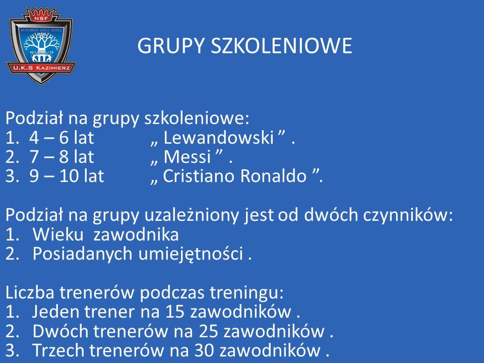 GRUPY SZKOLENIOWE Podział na grupy szkoleniowe: