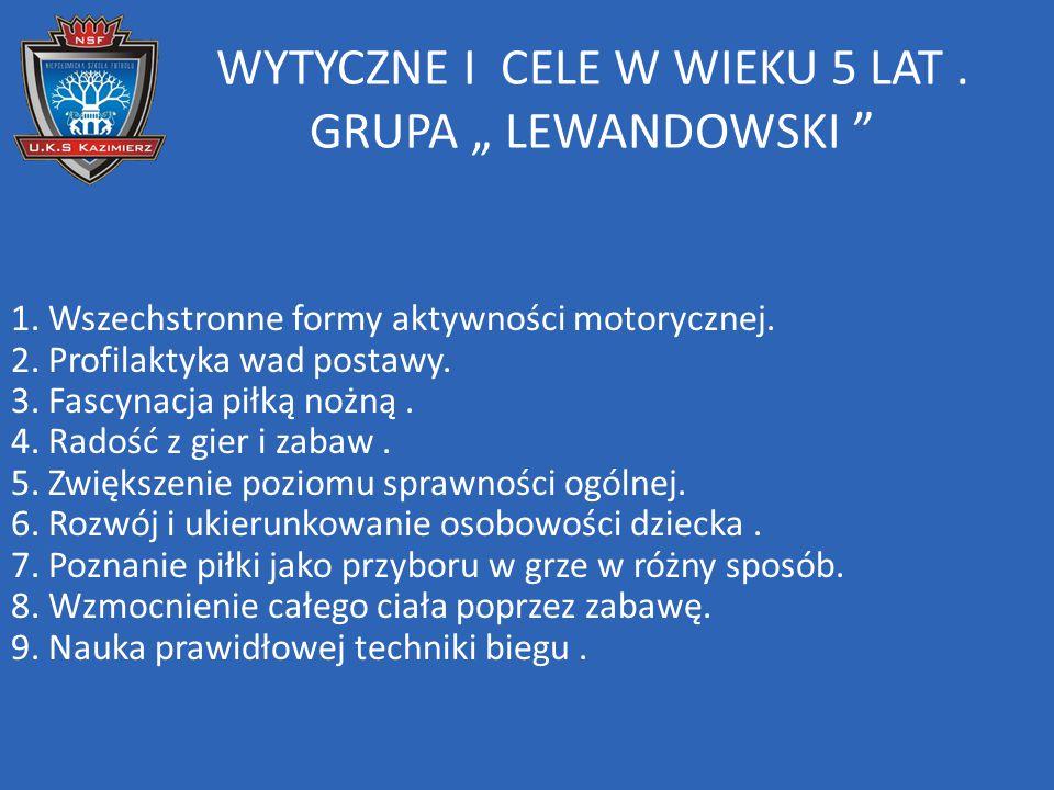 """WYTYCZNE I CELE W WIEKU 5 LAT . GRUPA """" LEWANDOWSKI"""