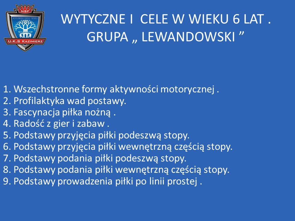 """WYTYCZNE I CELE W WIEKU 6 LAT . GRUPA """" LEWANDOWSKI"""