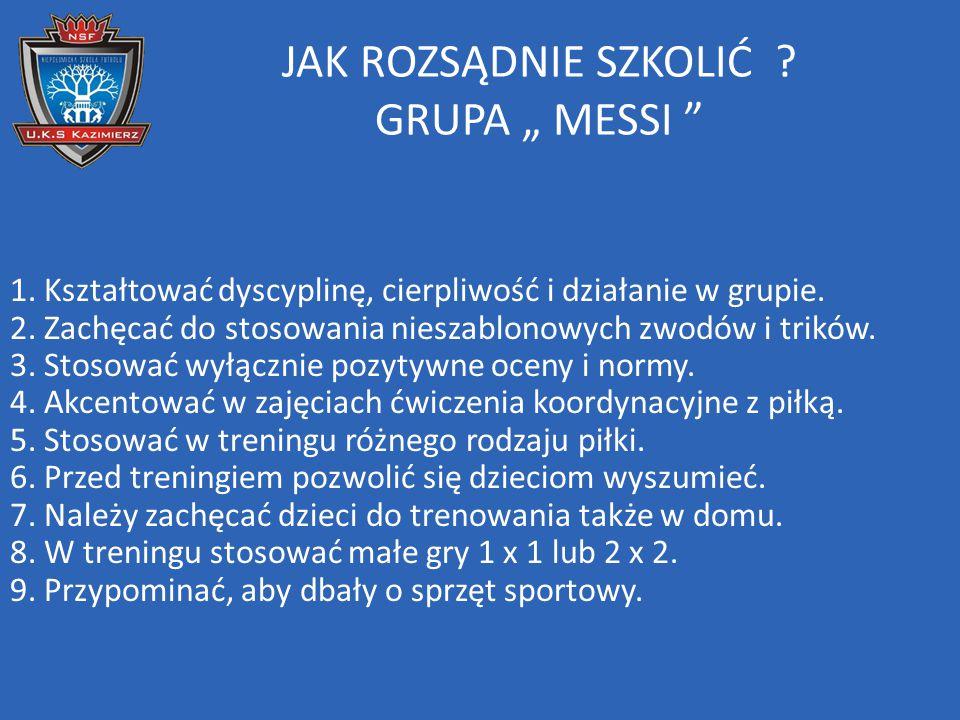 """JAK ROZSĄDNIE SZKOLIĆ GRUPA """" MESSI"""
