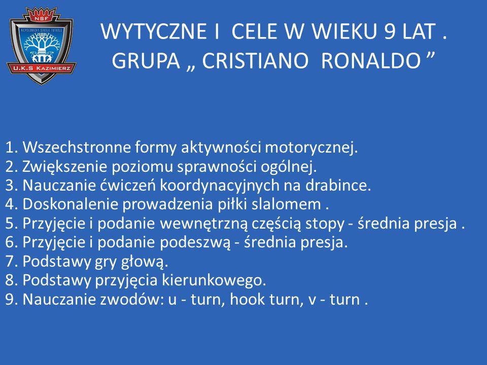 """WYTYCZNE I CELE W WIEKU 9 LAT . GRUPA """" CRISTIANO RONALDO"""
