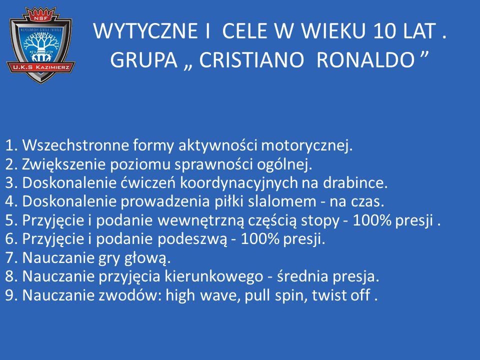 """WYTYCZNE I CELE W WIEKU 10 LAT . GRUPA """" CRISTIANO RONALDO"""