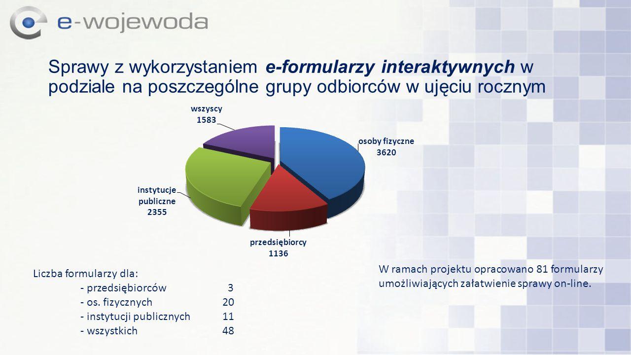 Sprawy z wykorzystaniem e-formularzy interaktywnych w podziale na poszczególne grupy odbiorców w ujęciu rocznym