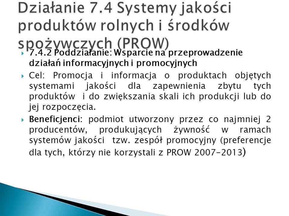 Działanie 7.4 Systemy jakości produktów rolnych i środków spożywczych (PROW)