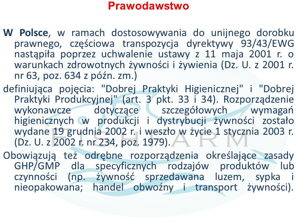 Prawodawstwo W Polsce, w ramach dostosowywania do unijnego dorobku prawnego, częściowa transpozycja dyrektywy 93/43/EWG nastąpiła poprzez uchwalenie ustawy z 11 maja 2001 r.