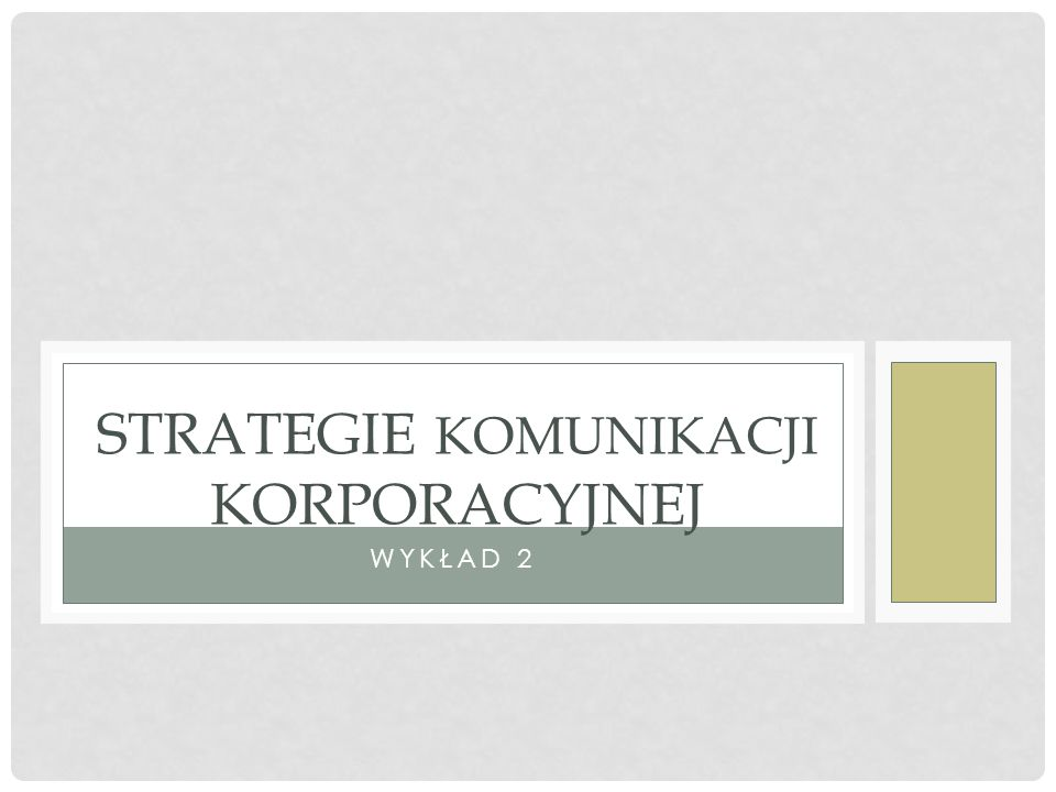 Strategie komunikacji korporacyjnej