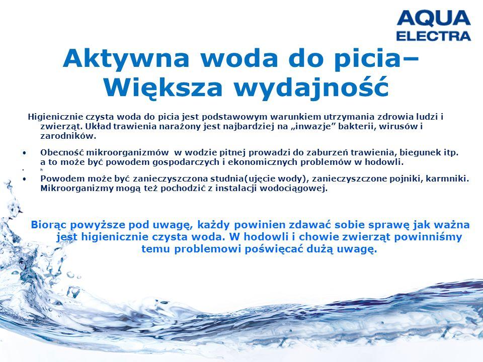 Aktywna woda do picia– Większa wydajność