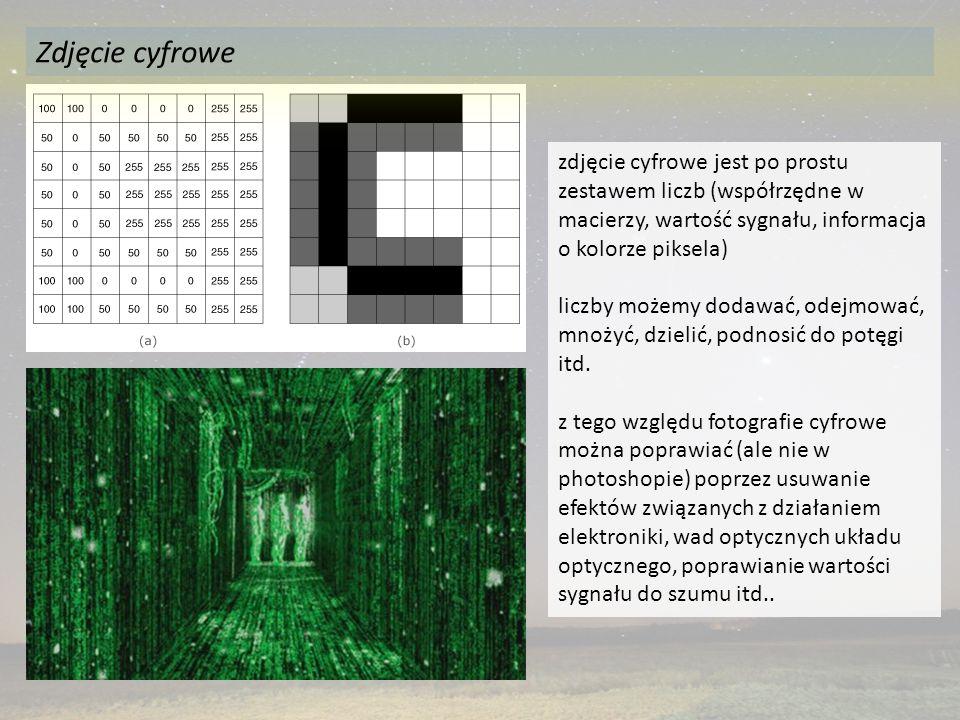 Zdjęcie cyfrowe zdjęcie cyfrowe jest po prostu zestawem liczb (współrzędne w macierzy, wartość sygnału, informacja o kolorze piksela)