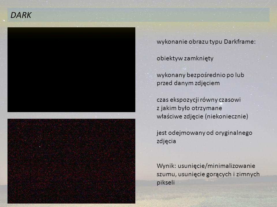 DARK wykonanie obrazu typu Darkframe: obiektyw zamknięty