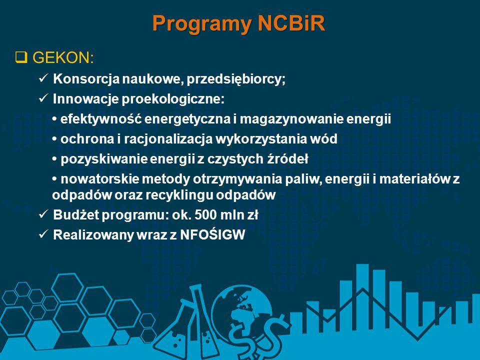 Programy NCBiR GEKON: Konsorcja naukowe, przedsiębiorcy;