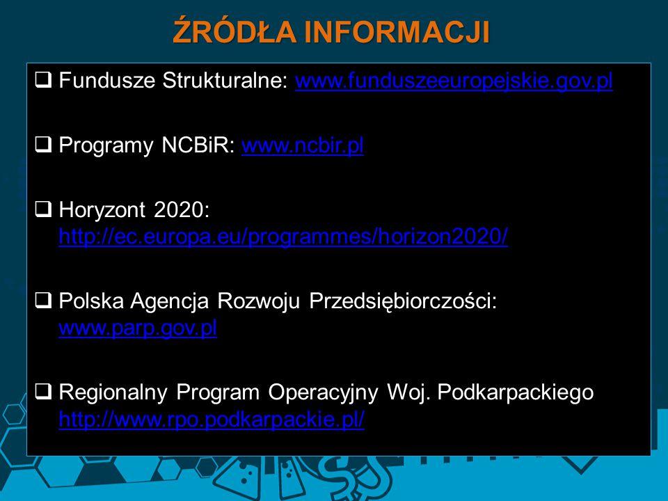 ŹRÓDŁA INFORMACJI Fundusze Strukturalne: www.funduszeeuropejskie.gov.pl. Programy NCBiR: www.ncbir.pl.
