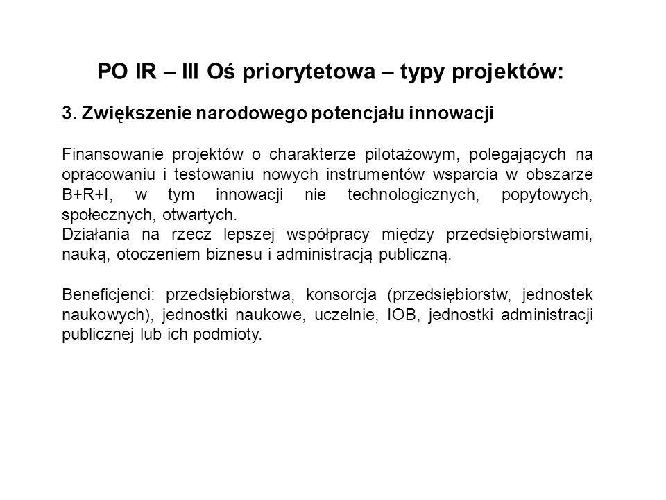 PO IR – III Oś priorytetowa – typy projektów: