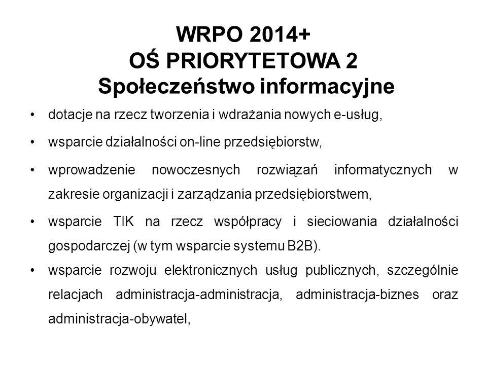 WRPO 2014+ OŚ PRIORYTETOWA 2 Społeczeństwo informacyjne