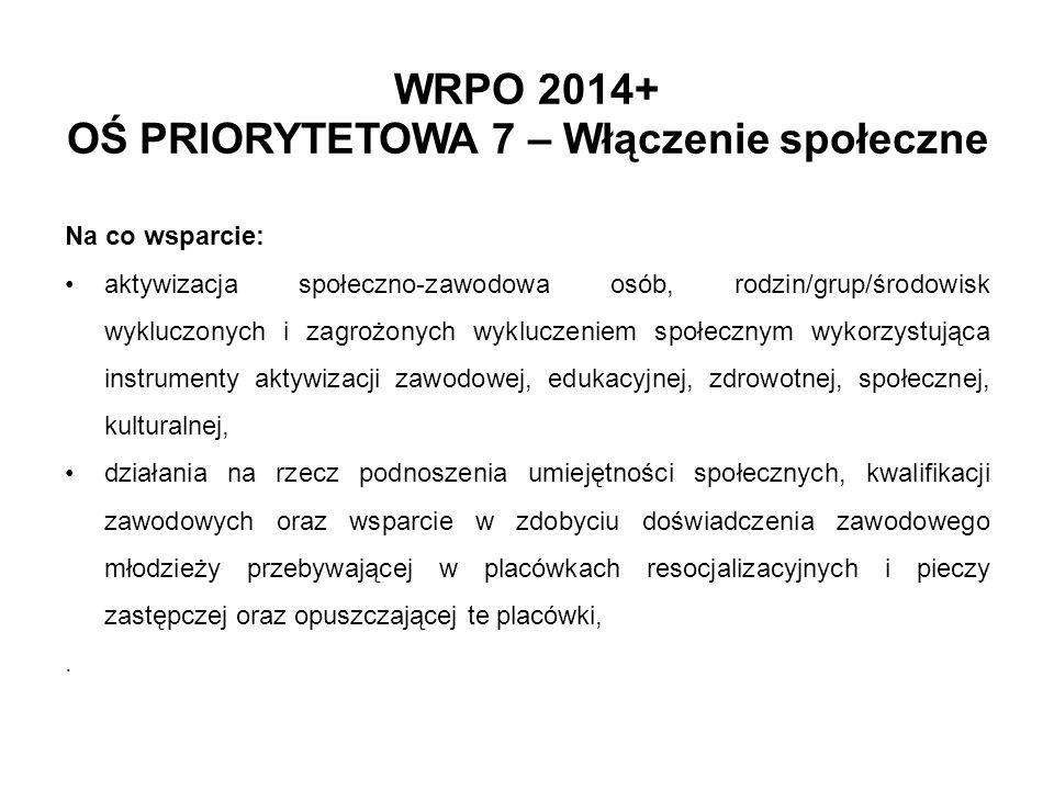 WRPO 2014+ OŚ PRIORYTETOWA 7 – Włączenie społeczne
