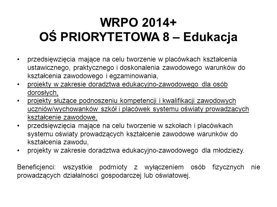 WRPO 2014+ OŚ PRIORYTETOWA 8 – Edukacja