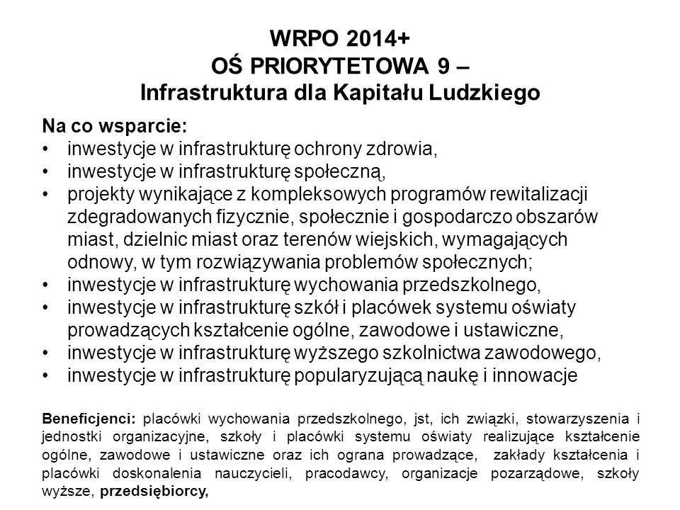 WRPO 2014+ OŚ PRIORYTETOWA 9 – Infrastruktura dla Kapitału Ludzkiego