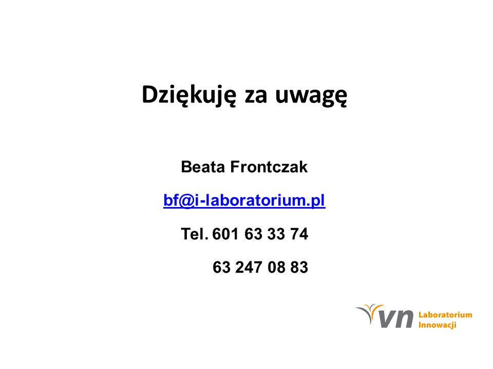 Beata Frontczak bf@i-laboratorium.pl Tel. 601 63 33 74 63 247 08 83