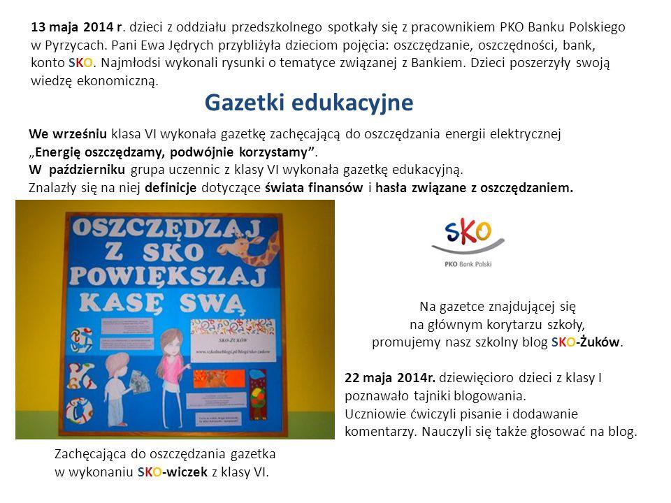 13 maja 2014 r. dzieci z oddziału przedszkolnego spotkały się z pracownikiem PKO Banku Polskiego w Pyrzycach. Pani Ewa Jędrych przybliżyła dzieciom pojęcia: oszczędzanie, oszczędności, bank,