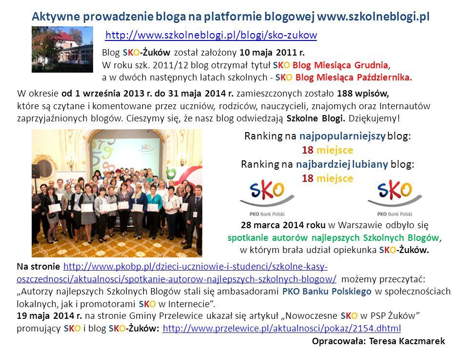 Aktywne prowadzenie bloga na platformie blogowej www.szkolneblogi.pl