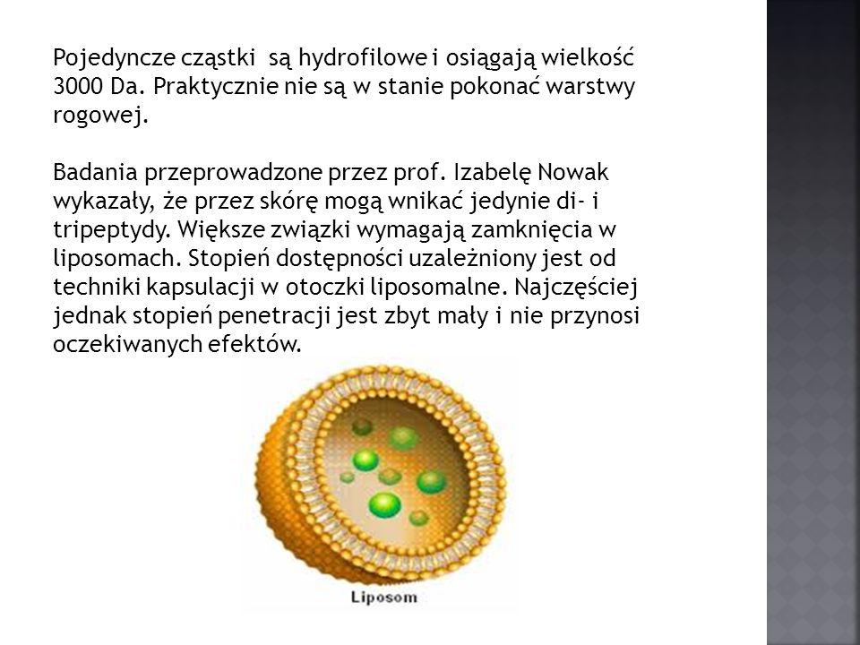 Pojedyncze cząstki są hydrofilowe i osiągają wielkość 3000 Da