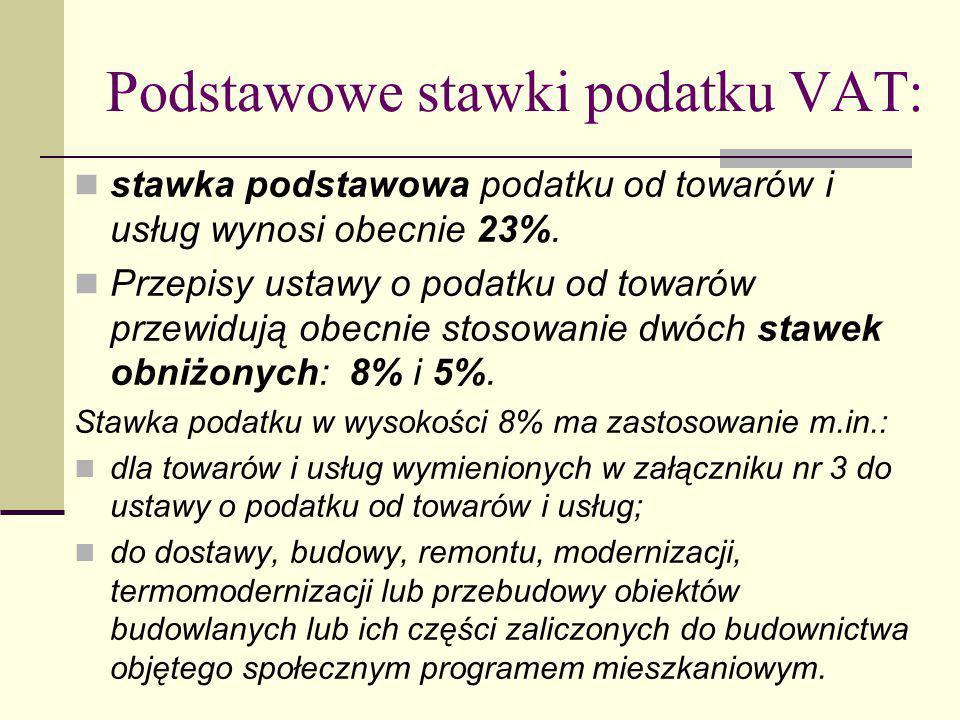 Podstawowe stawki podatku VAT: