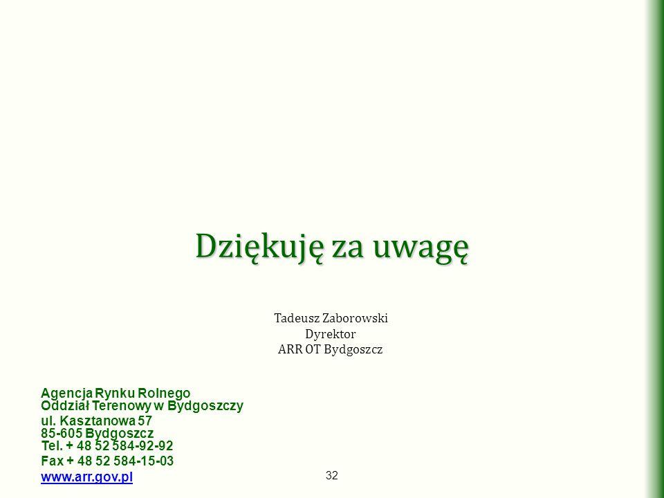 Dziękuję za uwagę Tadeusz Zaborowski Dyrektor ARR OT Bydgoszcz