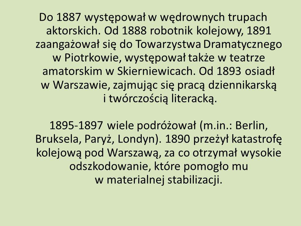 Do 1887 występował w wędrownych trupach aktorskich