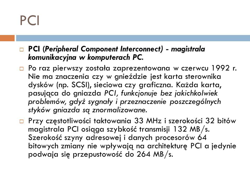 PCI PCI (Peripheral Component Interconnect) - magistrala komunikacyjna w komputerach PC.