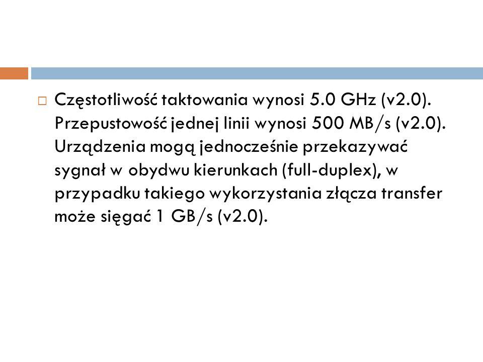 Częstotliwość taktowania wynosi 5. 0 GHz (v2. 0)